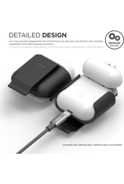 Elago Apple Airpods Klipsli Kılıf Airpods Carrying Clip - Siyah