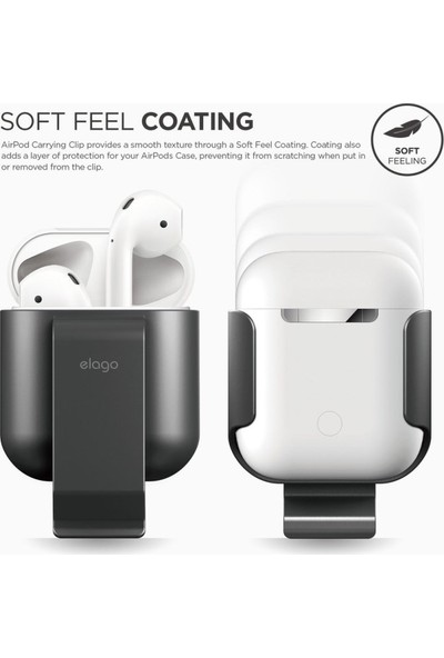 Elago Apple Airpods Klipsli Kılıf Airpods Carrying Clip - Koyu Gri