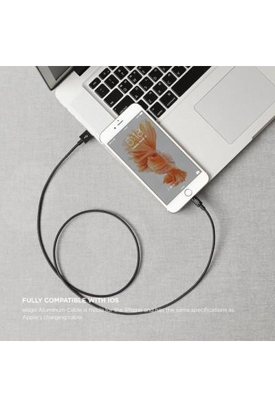 Elago Apple MFI Çelik Örme Lightning Şarj Kablosu - Siyah