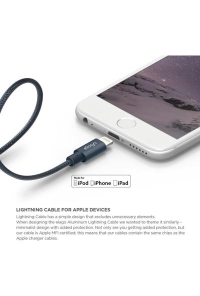 Elago Apple MFI Çelik Örme Lightning Şarj Kablosu - Lacivert