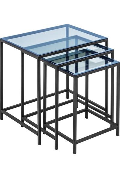 Ku Cam Diamond Black Serisi Mavi Cam 3'lü Zigon Orta Yan Sehpa