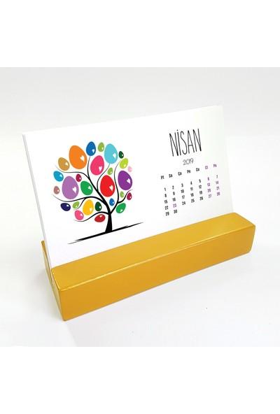 Bi'aldım Mevsim Ağaç Yatay Tasarımlı Masa Takvimi 2019 - Sarı