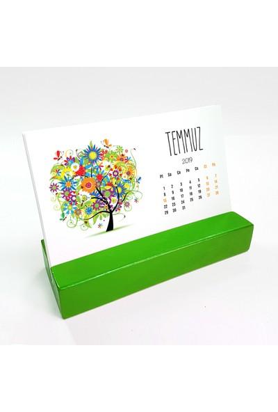 Bi'aldım Mevsim Ağaç Yatay Tasarımlı Masa Takvimi 2019 - Yeşil