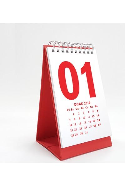 Bi'aldım Rakam Serisi Masa Takvimi 2019 - Dikey Kırmızı Beyaz