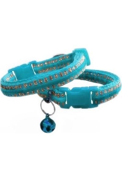 Simli Kedi Köpek Tasması Min:20-Max:30 Cm Mavi