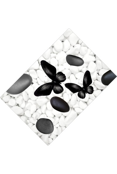 Cici Halı Beyaz Taş Üzeri Siyah Kelebekler Dekoratif Halı-90x300