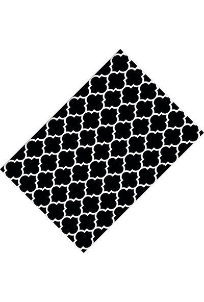 Cici Halı Siyah Üzerine Beyaz Çizgi Dekoratif Halı-133x190