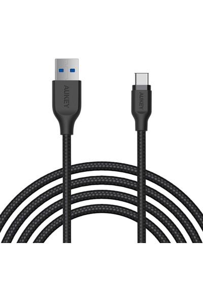 Aukey CB-AC2 USB 3.1 USB A To USB C Kablosu Örgülü 2 m - Siyah