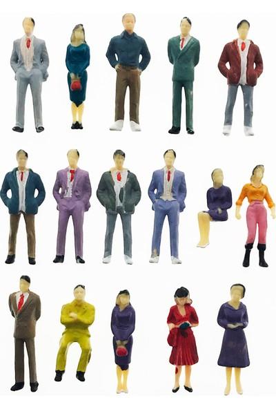 Hobi24 16 Adet Maket İnsan Figür - Renkli - 1/50