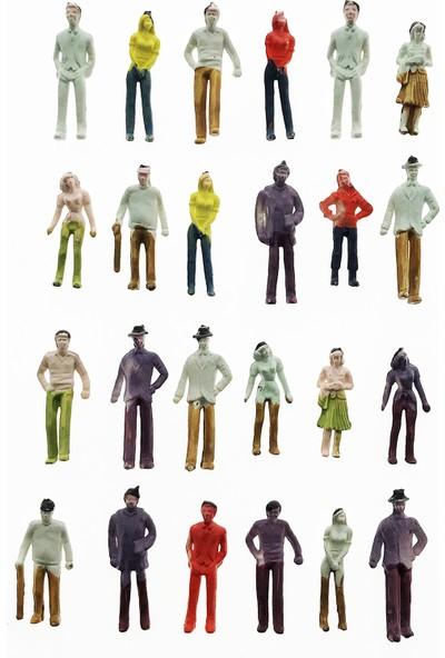 Hobi24 24 Adet Maket İnsan Figür - Renkli - 1/75