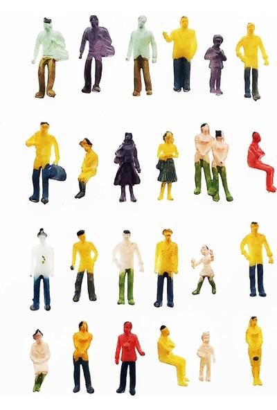 Hobi24 25 Adet Maket İnsan Figür - Renkli - 1/100