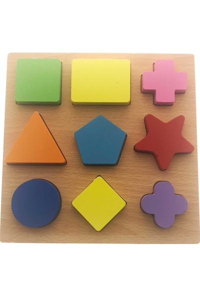 Hobi24 Ahşap Puzzle - Geometrik Renkli Şekiller
