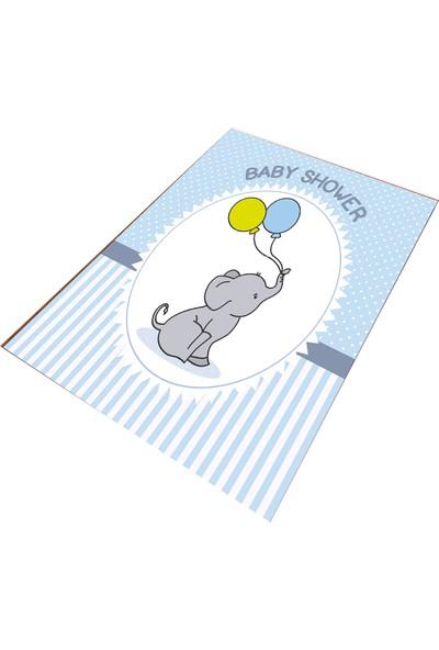 Consept Home 5168 Sevimli Fil ve Balonlar Antialerjik Çocuk Odası Halısı 80X150