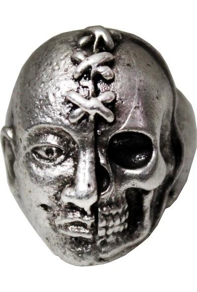 Modaroma Dikişli Kurukafa Gümüş Kaplama Yüzük