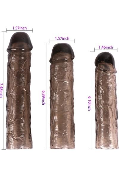 Xise 3lü Penis Kılıfı Set Ucu Dolgulu Uzatmalı Prezervatif Zenci Dildo
