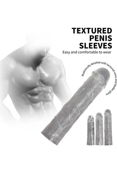 Xise 3lü Penis Kılıfı Set Ucu Dolgulu Uzatmalı Prezervatif Dildo Penis
