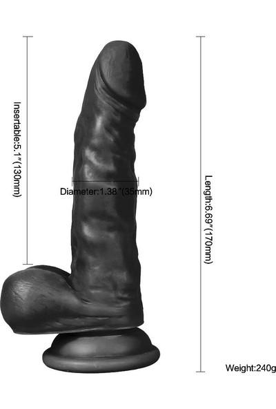 Xise 17 cm Vantuzlu Gerçekçi Realistik Zenci Penis Dildo
