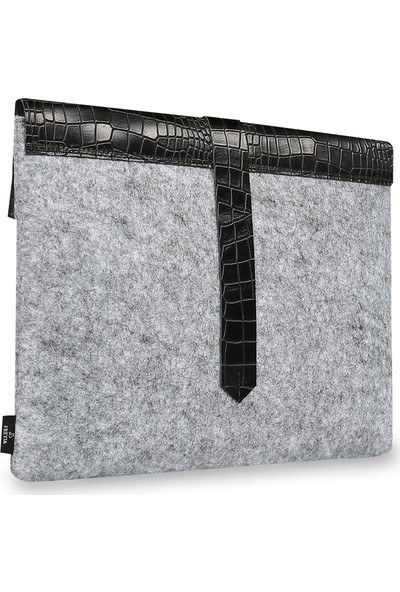 Freyja Keçe ve Deri Notebook Kılıfı Siyah Timsah Deri Desenli
