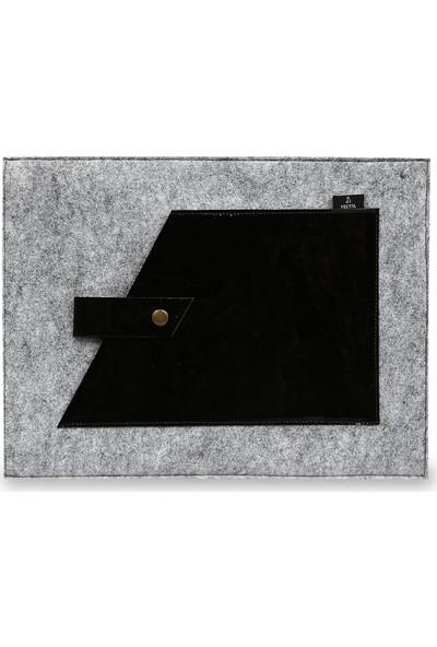 Freyja Keçe ve Deri Notebook Kılıfı Siyah Rugan