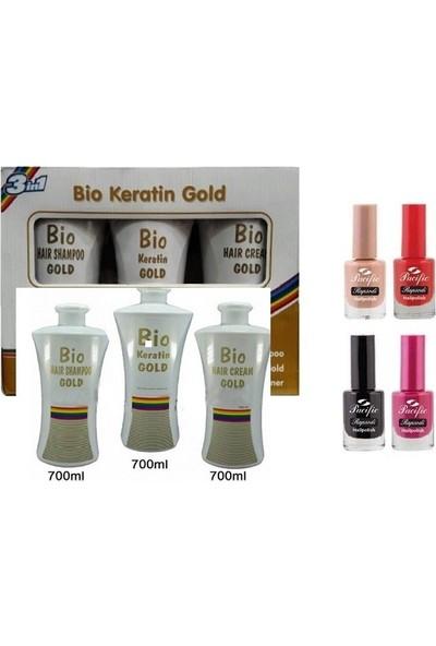 Bio Keratin Gold Kalıcı Brezilya Fönü 3'lü Set 700 ml + 1 Adet Pacific Oje