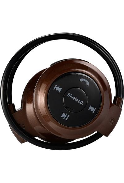 Twinix Hafıza Kart Girişli Bluetooth Kulaklık - Kahverengi