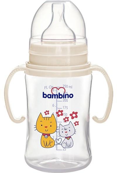 Bambino Geniş Ağızlı Kulplu PP Biberon 250 ml Kedi