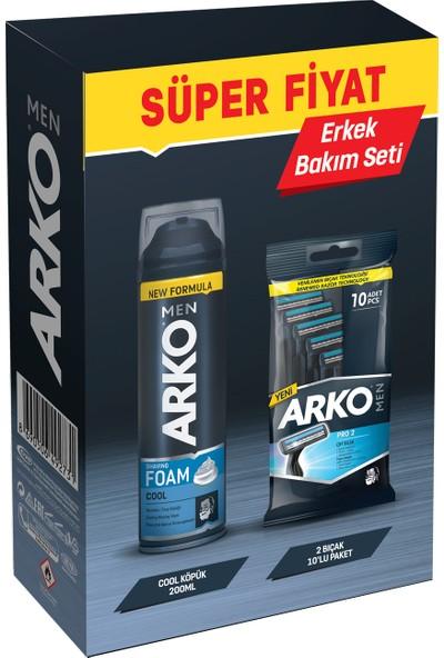 Arko Men T2 Pro 2 Bıçaklı Tıraş Bıçağı 10'lu & Cool Tıraş Köpüğü 200 ml Ekonomik Paket
