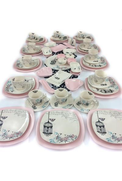 Keramika Retro 67 Parça 12 Kişilik Seramik Kahvaltı Takımı Pembe