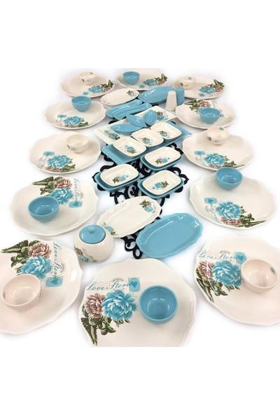 Keramika Gül 48 Parça 12 Kişilik Seramik Kahvaltı Takımı Turkuaz