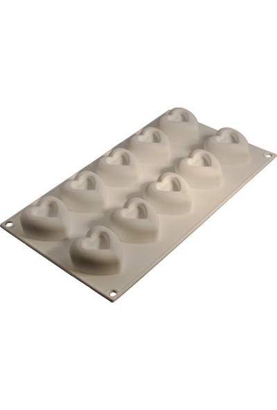 Cesil 10'lu Küçük Kalpler Silikon Kek Kalıbı