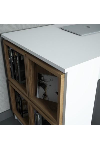 Variant Box Çalışma Masası Beyaz Ceviz