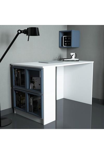 Variant Box Çalışma Masası Beyaz Mavi