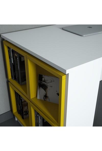 Variant Box Çalışma Masası Beyaz Sarı