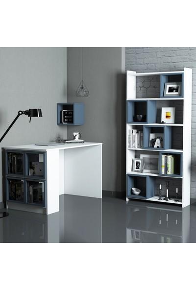 Variant Box Çalışma Masası Ve Kitaplık Takımı Beyaz Mavi