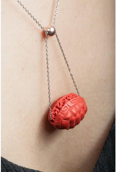 Argentum Concept Kaplumbağa Kabuğu Motifli Gümüş Sallantılı Kolye