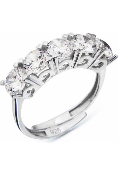Argentum Concept Zirkon Beş Taşlı Gümüş Ayarlanabilir Yüzük Y007101