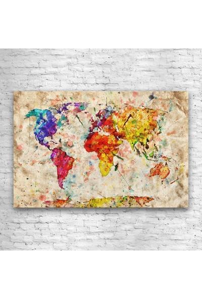 Tek Tablo Sanatsal Dünya Haritası Kanvas Tablo
