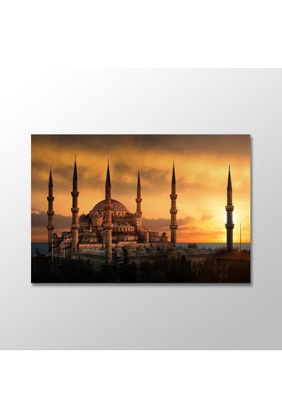 Tek Tablo Gün Batımında Sultanahmet Camii Kanvas Tablo