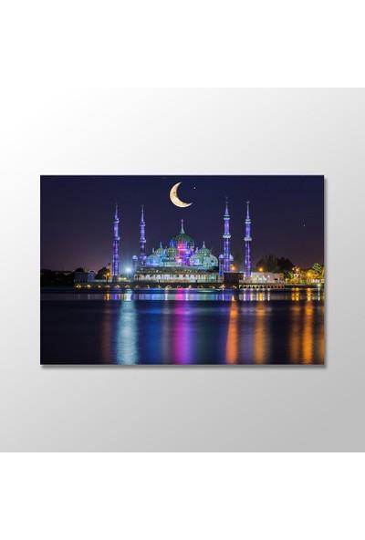 Tek Tablo Malezya'da Gece Kristal Camii Kanvas Tablo