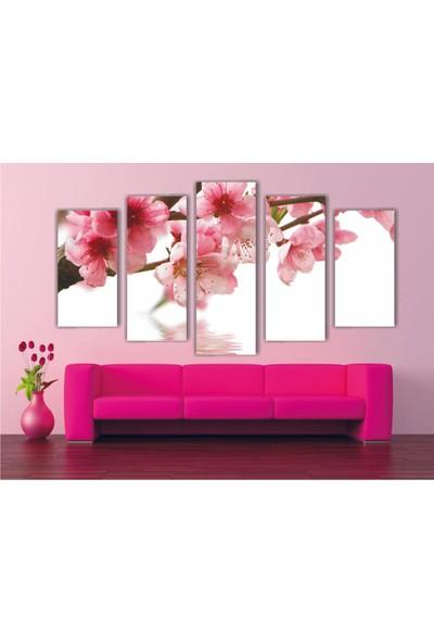 Agf Tablo Pembe Çiçekler Temalı Dekoratif 5 Parça Mdf Tablo