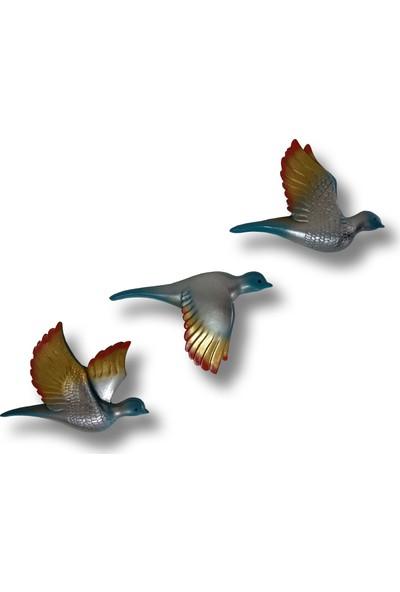 CajuArt Üçlü Kumru Uçan Kuş Ev Duvar Aksesuarı
