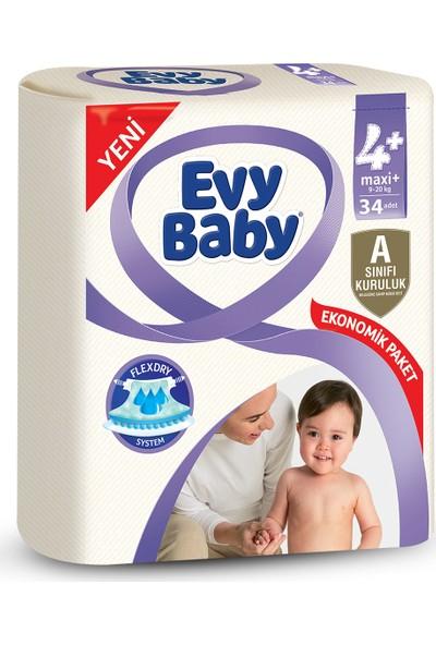Evy Baby Bebek Bezi 4+ Beden Maxi Plus Jumbo Paket 34 Adet
