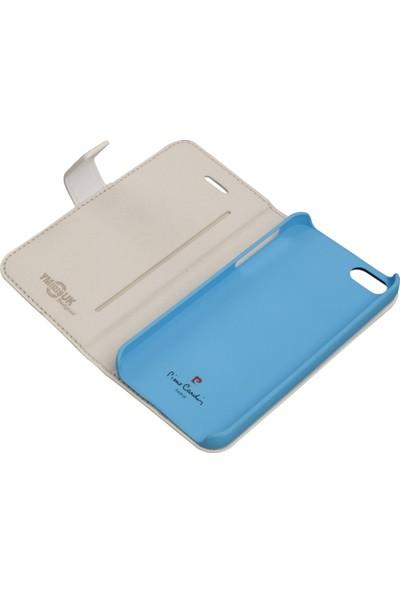 Pierre Cardin iPhone 5S Deri Kapaklı Koruma Kılıfı Mavi PCA-P01