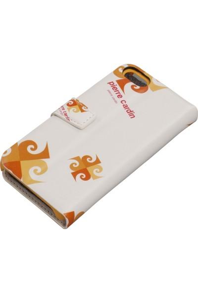 Pierre Cardin iPhone 5S Deri Kapaklı Koruma Kılıfı Turuncu PCA-P01