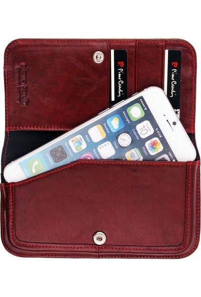 Pierre Cardin iPhone 6 Deri Kapaklı Koruma Kılıfı Kırmızı PCL-P06