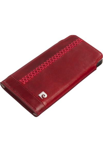 Pierre Cardin iPhone 6 Deri Kese Koruma Kılıfı Kırmızı PCN-J01