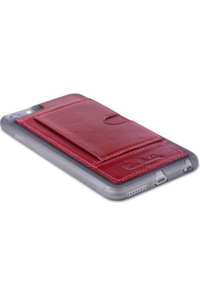 Pierre Cardin iPhone 6 Plus Deri Arka Koruma Paneli Kırmızı PCL-P11
