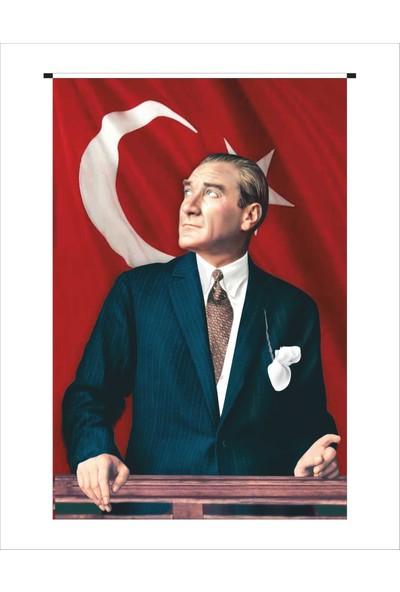 Gönder Bayrak Atatürk Posteri Raşel Kumaş - 150 x 225 cm