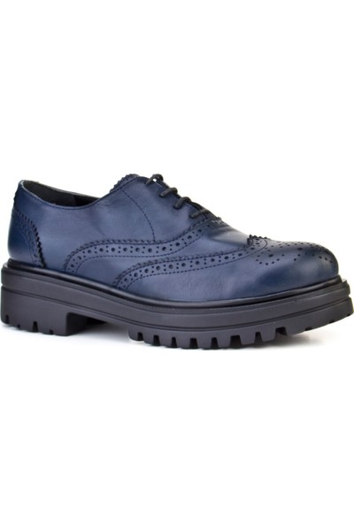 Cabani Bağcıklı Yüksek Taban Günlük Kadın Ayakkabı Lacivert Deri