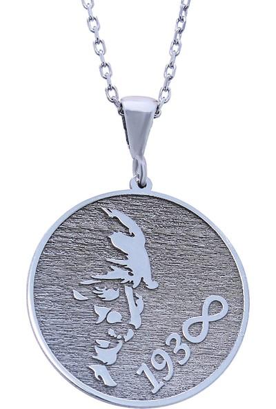 Gümüşçü Atatürk Silüeti Plaka Gümüş Kolye